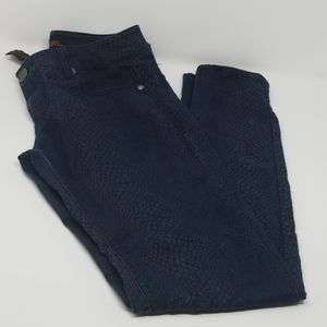 Material Girl Snake Print Blue Wash Skinny Pants